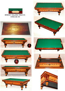 """ANTIQUE Pool billiard 1890s """"MARQUETRY (inlaid) TROPHY TABLE"""" - 1 OF A KIND"""