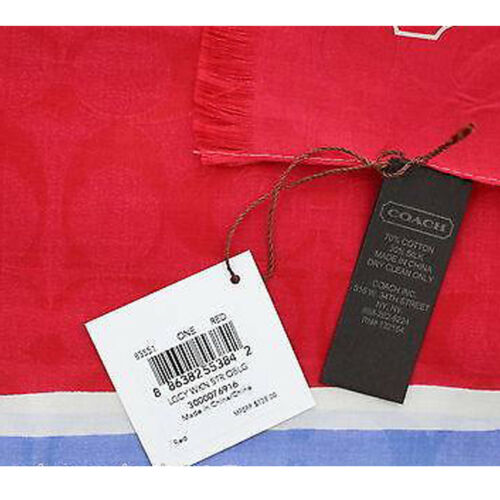 Coach 83551 Women/'s Legacy Weekend Stripe Oblong Scarf Wrap Red White Blue