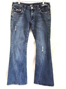True-Religion-Joey-Big-T-Flare-Women-Distressed-Jeans-31x32-Stretch-Medium-Wash