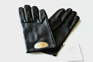 100-AUTH-HERMES-WOMEN-039-S-WRIST-GLOVES-GOLD-H-LOGO-BLACK-LAMBSKIN-LEATHER-NEW-NWT