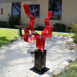 Statements2000-Modern-Abstract-Outdoor-Metal-Art-Sculpture-034-Reaching-Out-Red-034