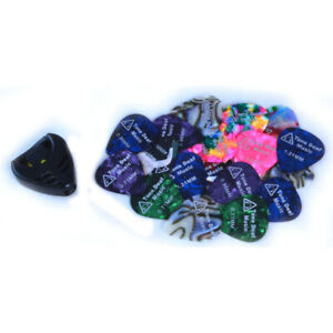 18-x-GUITAR-PICKS-amp-FREE-PLECTRUM-HOLDER-acoustic-bass-electric-pick-mix-gauges