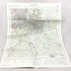 1967 Vintage Militare Mappa Di Birmingham Redditch Bromsgrove Sutton Coldfield