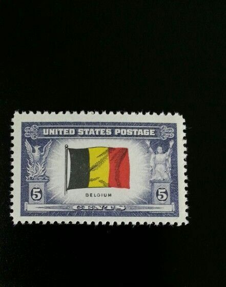 1943 5c Belgium Flag, Overrun Nations, World War II Sco