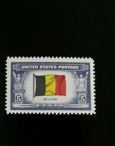 1943 5c Belgium Flag, Overrun Nations, World War II Scott ...