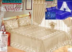 100% True Luxus 9 Tlg Tagesdecke BetÜberwurf Set VorhÄnge & Gardine NilÜfer Blau Beige Special Buy Bedding
