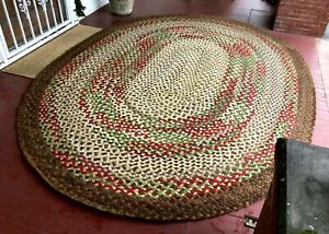 Antique Braided Rug 12 Ft X 9 Ft Brown Cream Green Red 100 Wool Aafa Folk Art Ebay