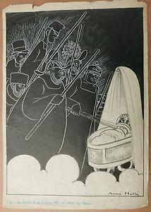 Dessin-Original-Ancien-Illustration-Enfant-Berceau-ANDRE-HELLE-c-1920-Laclotre