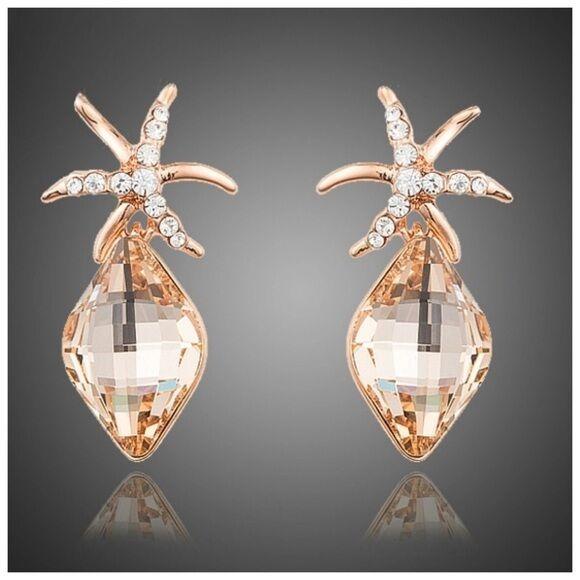 S12 Made Using Swarovski Crystals gold Starfish Drop Earrings  99