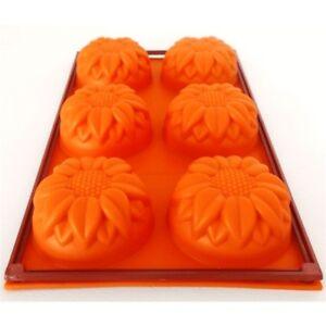 Teglia-In-Silicone-Alimentare-Per-Dolci-Stampo-6-Stampi-A-Forma-Di-Girasoli-dfh