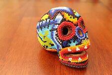 HUICHOL Beaded SKULL Art Day of Dead Mexican Folk Art Handmade