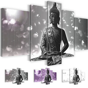 bild leinwand bilder kunstdruck buddha grau lila schwarz wei 5tlg 5010516 27 ebay. Black Bedroom Furniture Sets. Home Design Ideas