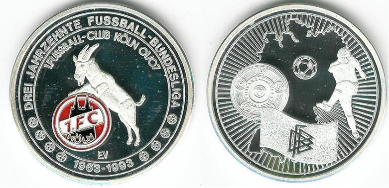1. FC Köln Silber-Münze-Medaille 999 mit Punze   30 Jahre Bundesliga