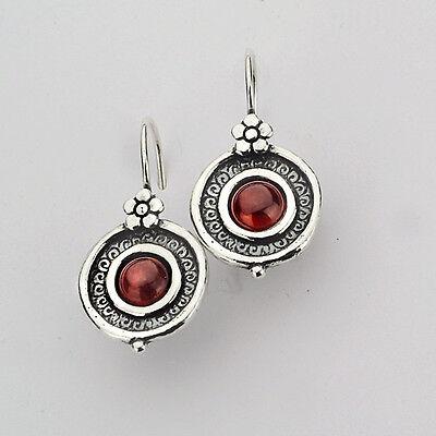 E00257GR SHABLOOL ISRAEL Handcrafted Red Garnet Sterling Silver 925 Earrings