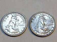 1944-D and 1945-D Philippines 10 Centavos BU Two Coin Set