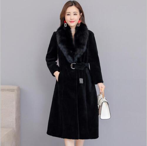 Women Winter New Luxury Wool Coats Fur Collar Waist Blet Mid-long Warm Outwear