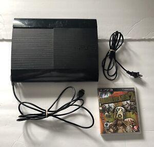 Sony PS3 Super Slim Black Console 250 GB TESTED w/ Borderlands 2 NO CONTROLLER*