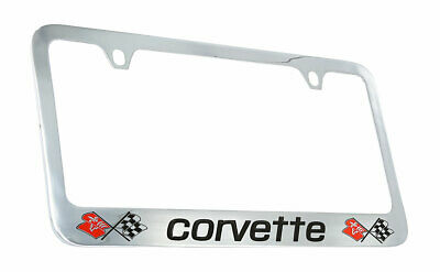 Corvette C3 Dual Logo Chrome Brass License Plate Frame