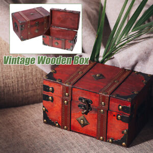 Vintage-Wooden-Storage-Box-Jewelry-Treasure-Pearl-Display-Organizer-Holder