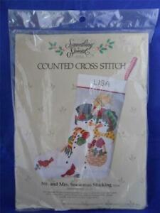 Mr-amp-Mrs-Snowman-Stocking-Cross-Stitch-Kit-50214-Something-Special-Vintage