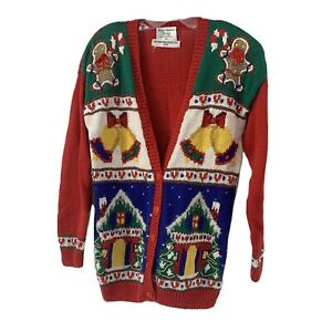 Marisa Christina Vintage Christmas Cardigan Sweater Womens M Gingerbread Men 93