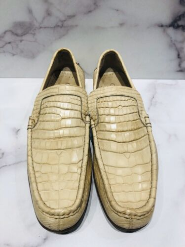 GUCCI White Crocodile Men's Driving Loafers Shoes