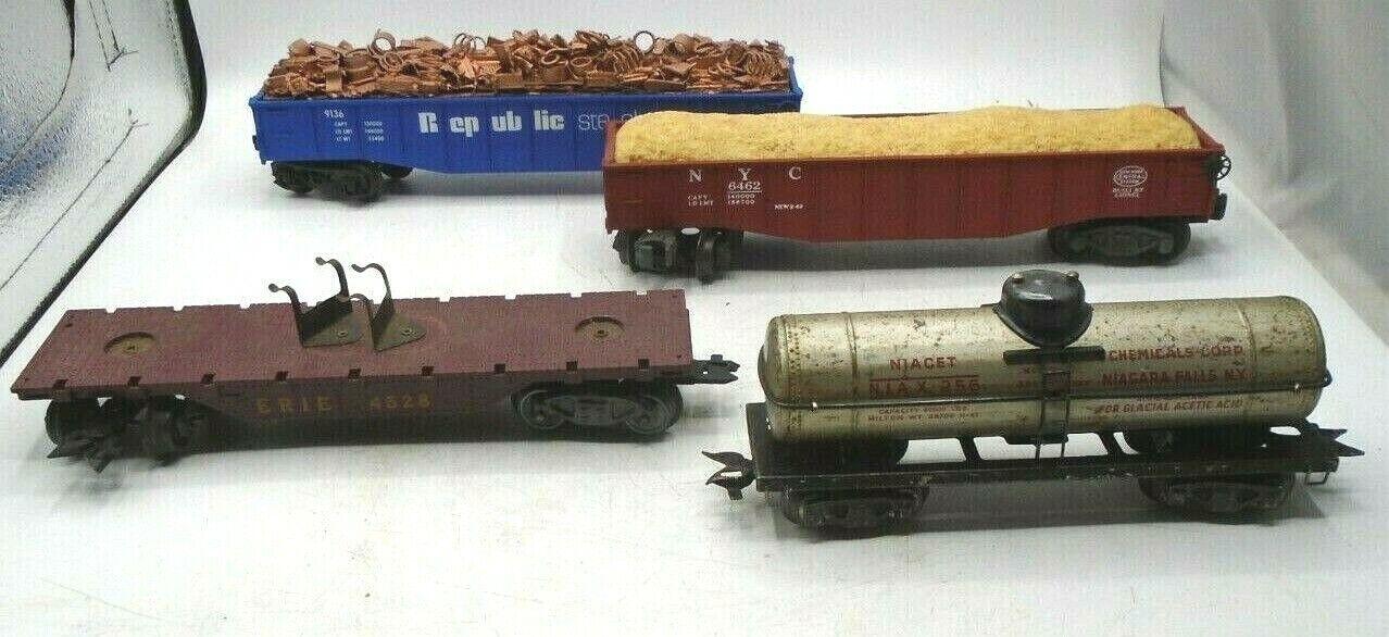 Lionel lotto di 4 VINTAGE treni REPUBBLICA acciaio 9136 Erie 4528 NYC 6462 niax 256