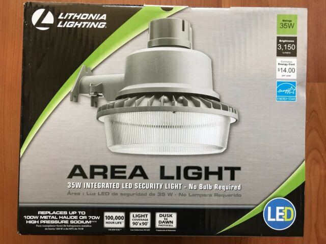 Lithonia Lighting Gray Outdoor Integrated LED 4000K Area Light with Dusk to Dawn
