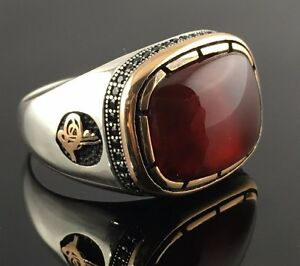 Unique .925 Sterling Silver Aqeeq Agate Stone  Men's Ring -US - K7D