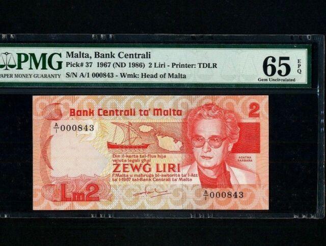 Malta:P-37,2 Liri,1967 (1986) * A. Barbara * PMG Gem UNC 65 EPQ  *