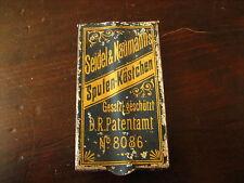 Reklame Seidel & Naumann Spulen-Kästchen Blech 1900