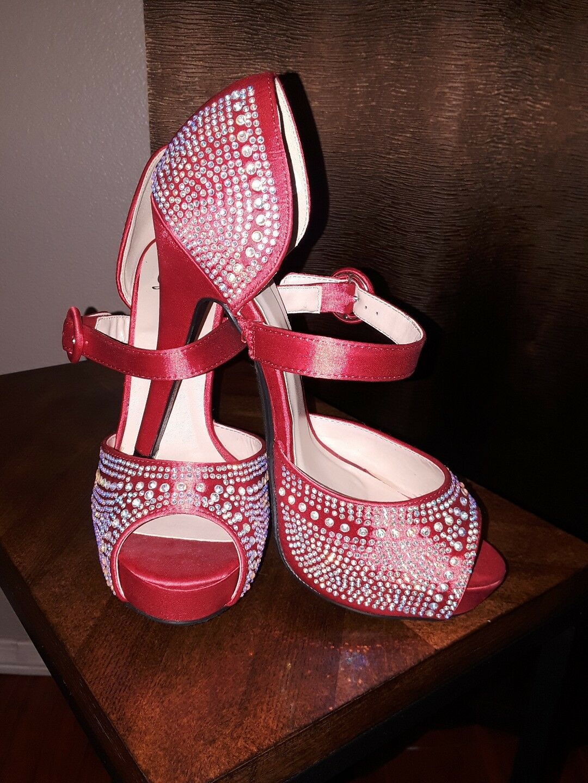 rot rhinestone stiletto schuhe mary jane style style style Größe 7 rot scarlet brand new 854559