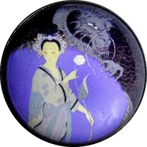 Crystal Dome Button Art Deco ADB 03 Lady w// Dragon 1920s   FREE US SHIPPING