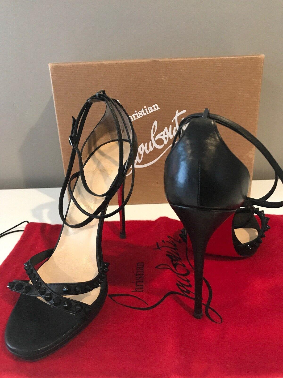 Christian Louboutin Monocronana Monocronana Monocronana 120 KID Studded Strappy Leather Open Toe Größe 40 10cafe