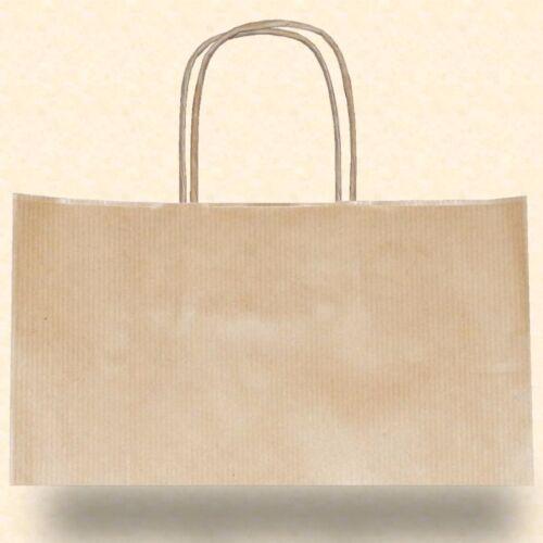 150 Papiertragetaschen Papiertüte braun Kordel gerippt 45+17x48 cm Tasche Beutel