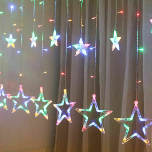 Star Curtain String Lights 138 DEL de fenêtre Batterie lien blanc chaud