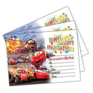 20 x disney cars kids birthday party invitations invites cards girls
