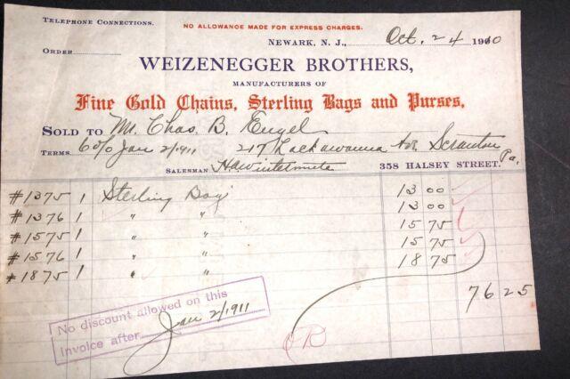 Weizenegger Mfr Gold Chains Sterling Purses Billhead Letterhead 1910 Newark NJ
