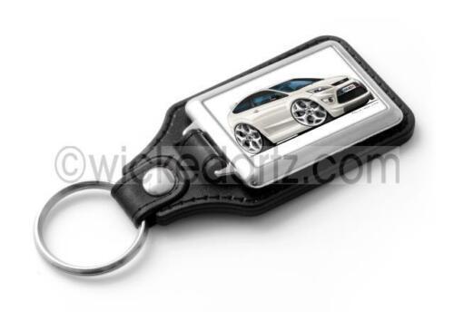 RetroArtz Cartoon Car Ford Focus MK2 ST 3 Door in White Classic Key Ring