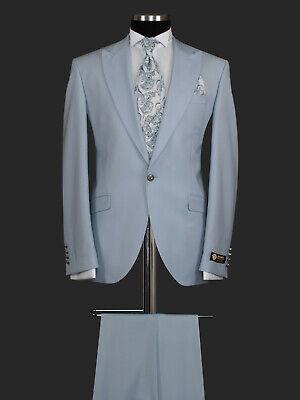 Herren Anzug Sakko Weste Smoking Hochzeit Brautigam Baby Blau Weiß Slim Fit 6tlg | eBay