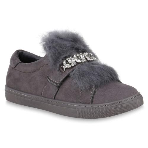 Damen Sneaker Low Fell Strass Wildleder-Optik Freizeit Schuhe 820227 Trendy Neu