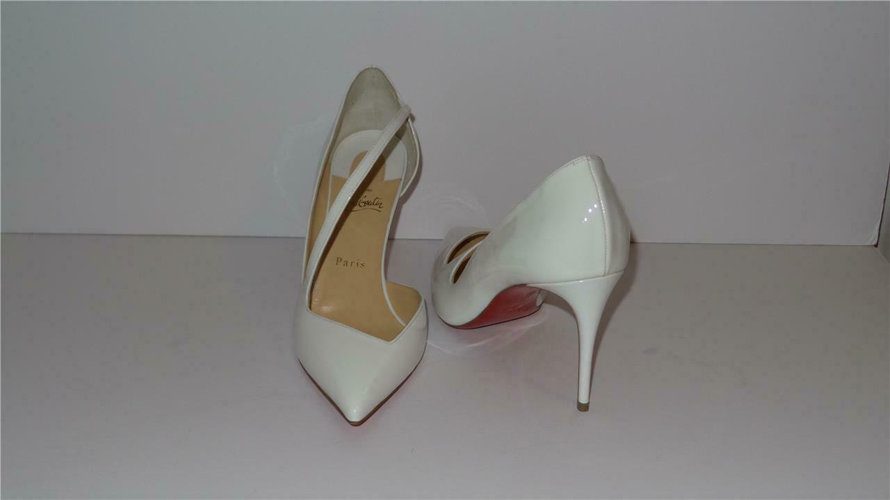 745 CHRISTIAN LOUBOUTIN JUMPING 85 WHITE LATTE PUMPS HEELS SIZE 40