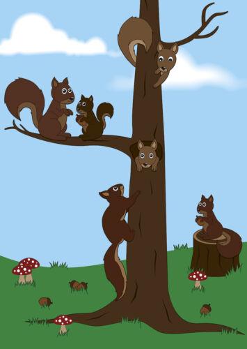 Schreibblock nette Eichhörnchen A4 25 Blatt Briefpapier Motivpapier Block Tiere