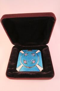 French-Guilloche-Antique-enamel-compact-great-condition