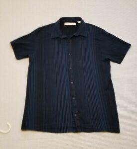 Men-s-PERRY-ELLIS-Casual-Button-Front-Short-Sleeve-Shirt-XL-Blue-Black-Striped