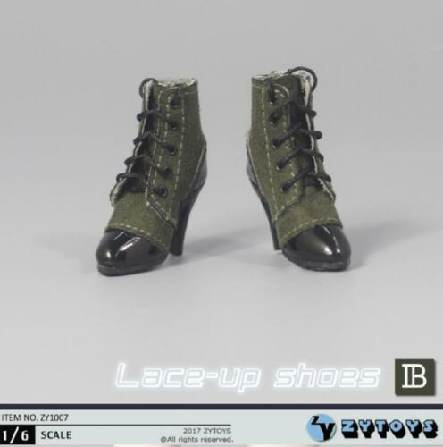 1//6 scale women shoes short black boots lace up for phicen kumik ❶US Seller❶