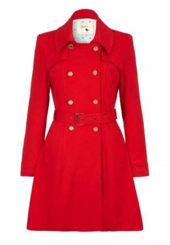 Yumi Trench o sera Giorno Bnwt 12 Red Fabric Uk Smart Coat Hot Ponte pqxwU5aB