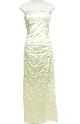 NICOLE MILLER White Ivory Floral Embroidery Satiny Long Formal Gown Dress 4 $400