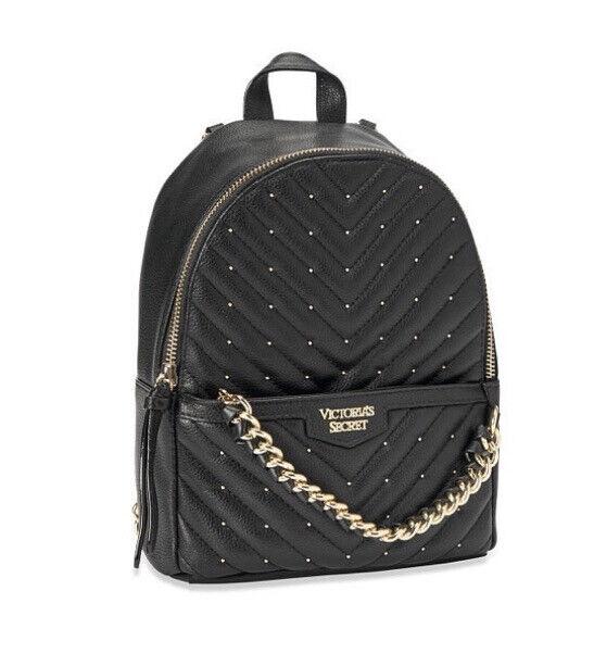 NWT Victoria Secret bag small black, gold studded v-quilt backpack