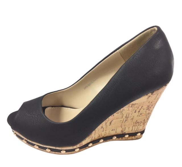Womens Ladies Black Faux Leather High Wedge Heel Peep Toe Shoes Size UK 8 New